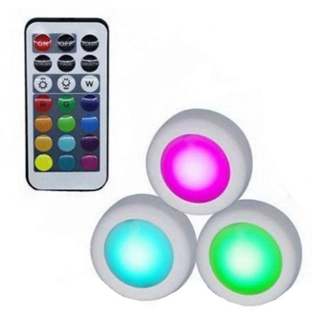 Светодиодные фонари лампы для дома 3 шт Magic Lights LED подсветка с пультом