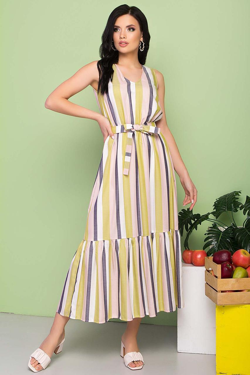 Легкое платье в вертикальную полоску, длиной макси, без рукавов, V-образный вырез.