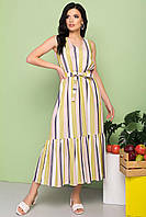 Легкое платье в вертикальную полоску, длиной макси, без рукавов, V-образный вырез., фото 1