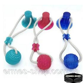 Интерактивная игрушка для собак и кошек канат на присоске с мячом Pet molar toys
