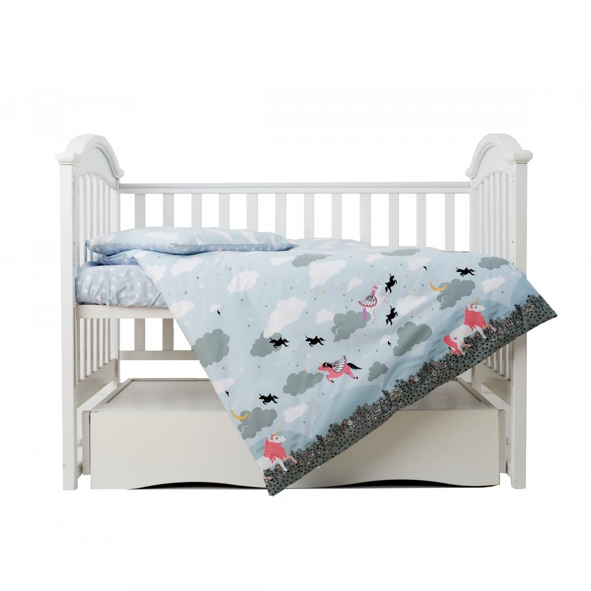 Постільний комплект дитячий Twins Unicorn на 3 предмета blue