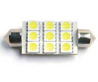 Лампа автомобильная LED-L2205 под цоколь SV8.5 C5W. FESTOON [white] 36mm BL2 - 9 светодиодов