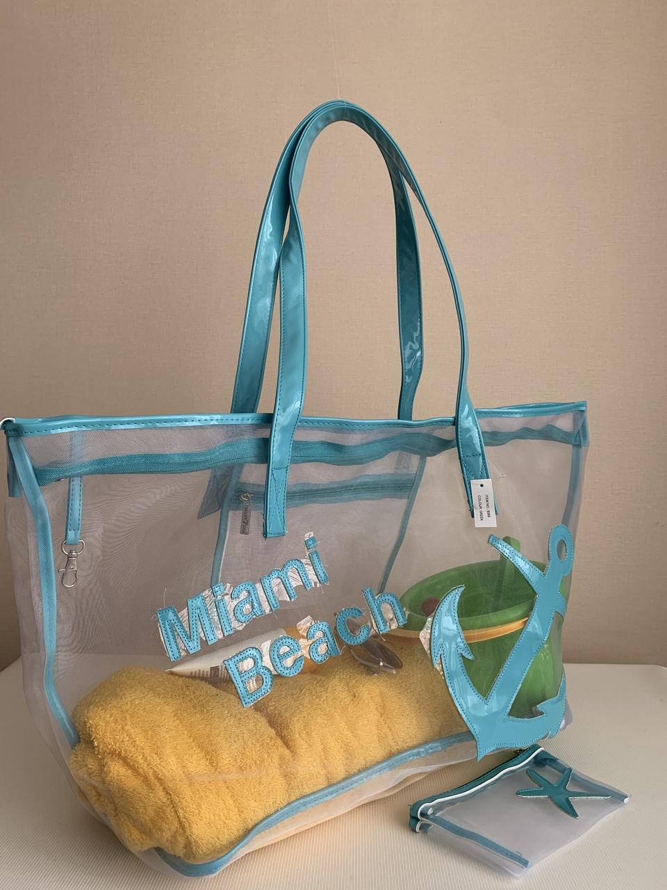 Летняя прозрачная сумка сетка с косметичкой на пляж