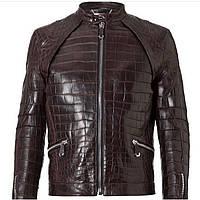 Мужская кожаная куртка из крокодила коричневого цвета