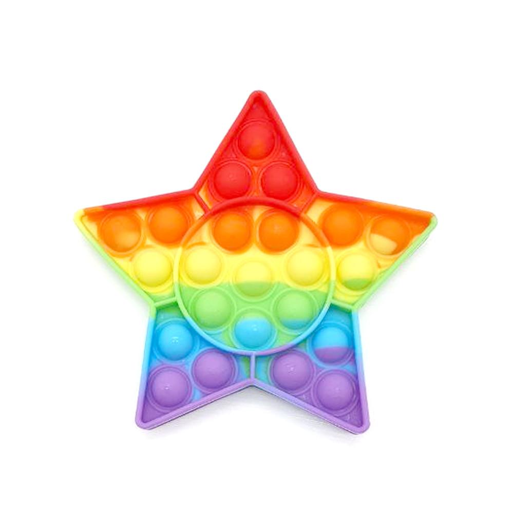 Поп ит зірка райдужна Іграшка антистрес Pop It кольоровий