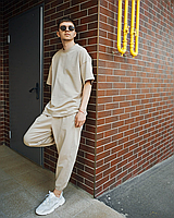 Бежевий спортивний костюм літній футболка і штани | оверсайз | турецька двухнить, фото 1
