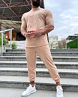 Річний легкий комплект футболка + штани бежевий   Туреччина   100% бавовна, фото 1