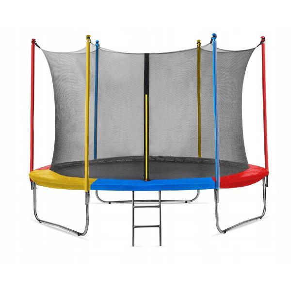 Спортивний Батут Just Fun 305 см Multicolor з Внутрішньої Сіткою + Сходи (Навантаження 150 кг)