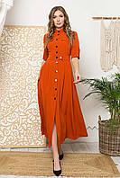 Платье-рубашка макси прямого силуэта, воротник-стойка и короткий рукав. Терракотового цвета, фото 1