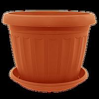 Терракотовый вазон для цветов больших размеров с поддоном 36*27 см, напольный вазон