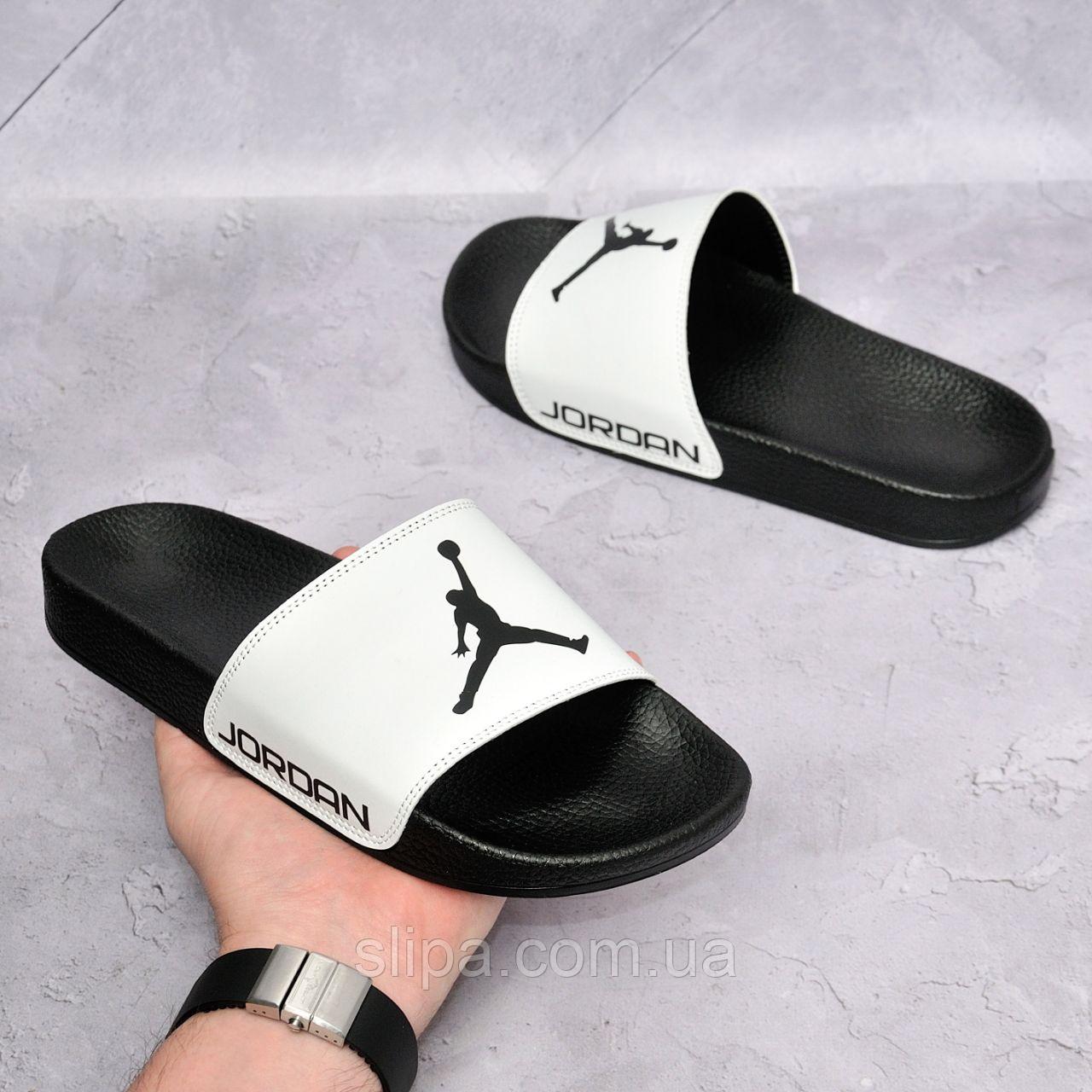Белые кожаные шлёпки Jordan на чёрной подошве | натуральная кожа + термополиуретан