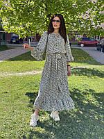 Женское платье из хлопка в цветочный принт Poliit 8822