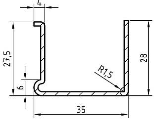 Армуючий профіль для вікон ПВХ 4х28х35х28