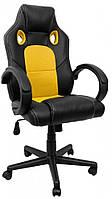 Кресло компьютерное геймерское офисное с подголовником и подлокотником до 120 кг из экокожи