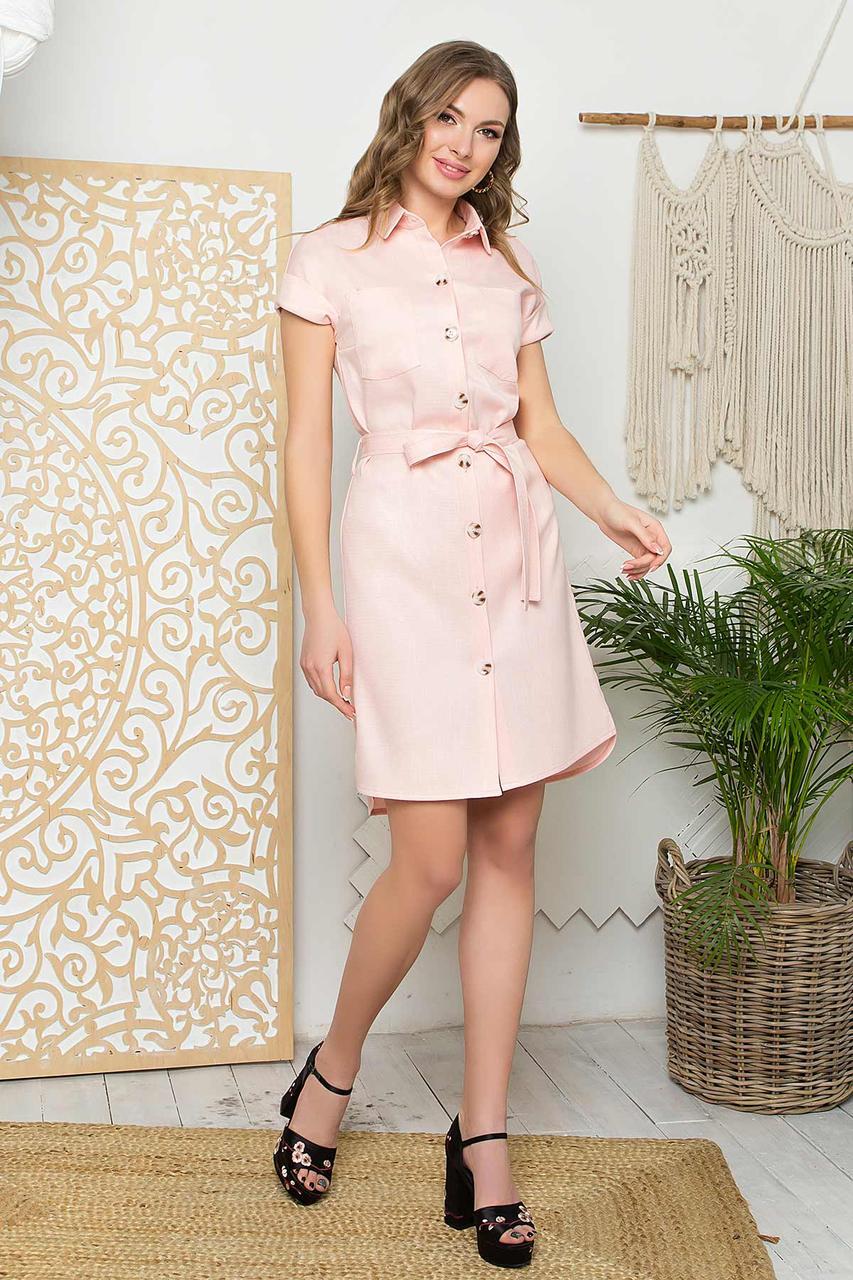 Літній лляне плаття-халат прямого силуету, відкладний комір і застібка-планка на гудзики. Рожеве