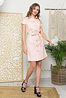 Літній лляне плаття-халат прямого силуету, відкладний комір і застібка-планка на гудзики. Рожеве, фото 1