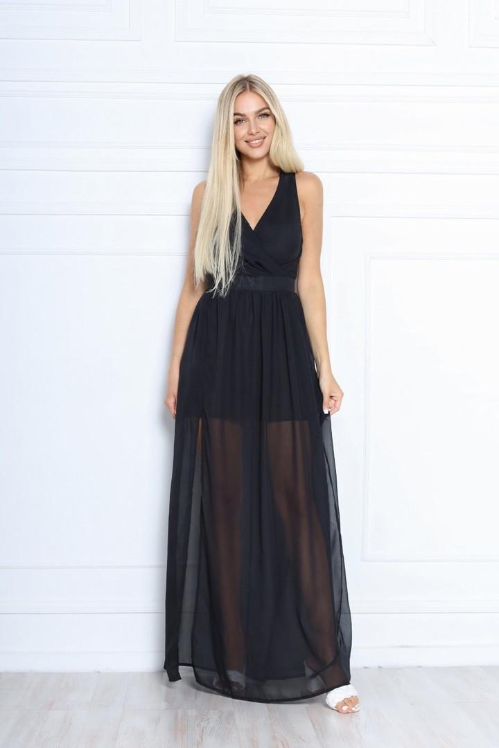 Женское платье, шифон, р-р 42; 44; 46; 48 (чёрный)