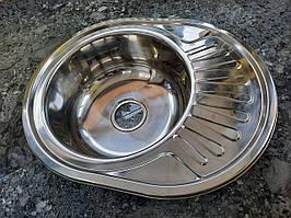 Мойка кухонная  нержавейка эллипс 570х450 х180 глянец