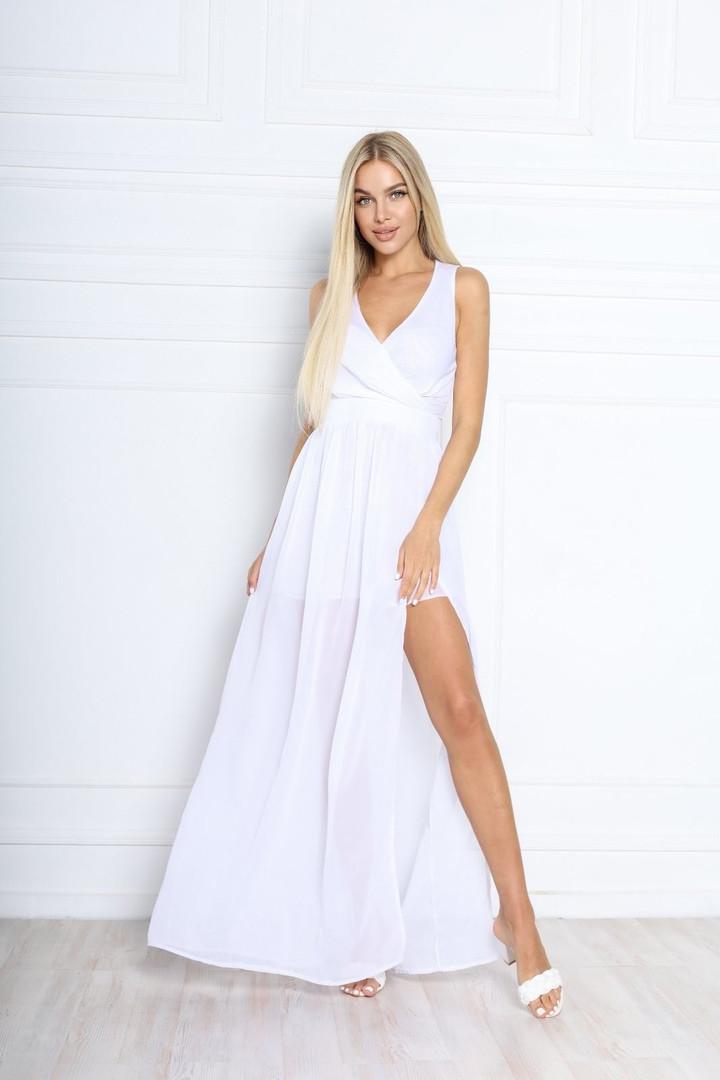 Женское платье, шифон, р-р 42; 44; 46; 48 (белый)