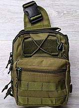 Однолямочный рюкзак - сумка зелёного цвета (50426)