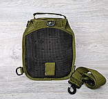 Однолямочный рюкзак - сумка зелёного цвета (50426), фото 4