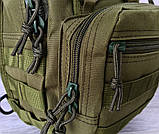 Однолямочный рюкзак - сумка зелёного цвета (50426), фото 5