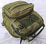Однолямочный рюкзак - сумка зелёного цвета (50426), фото 6