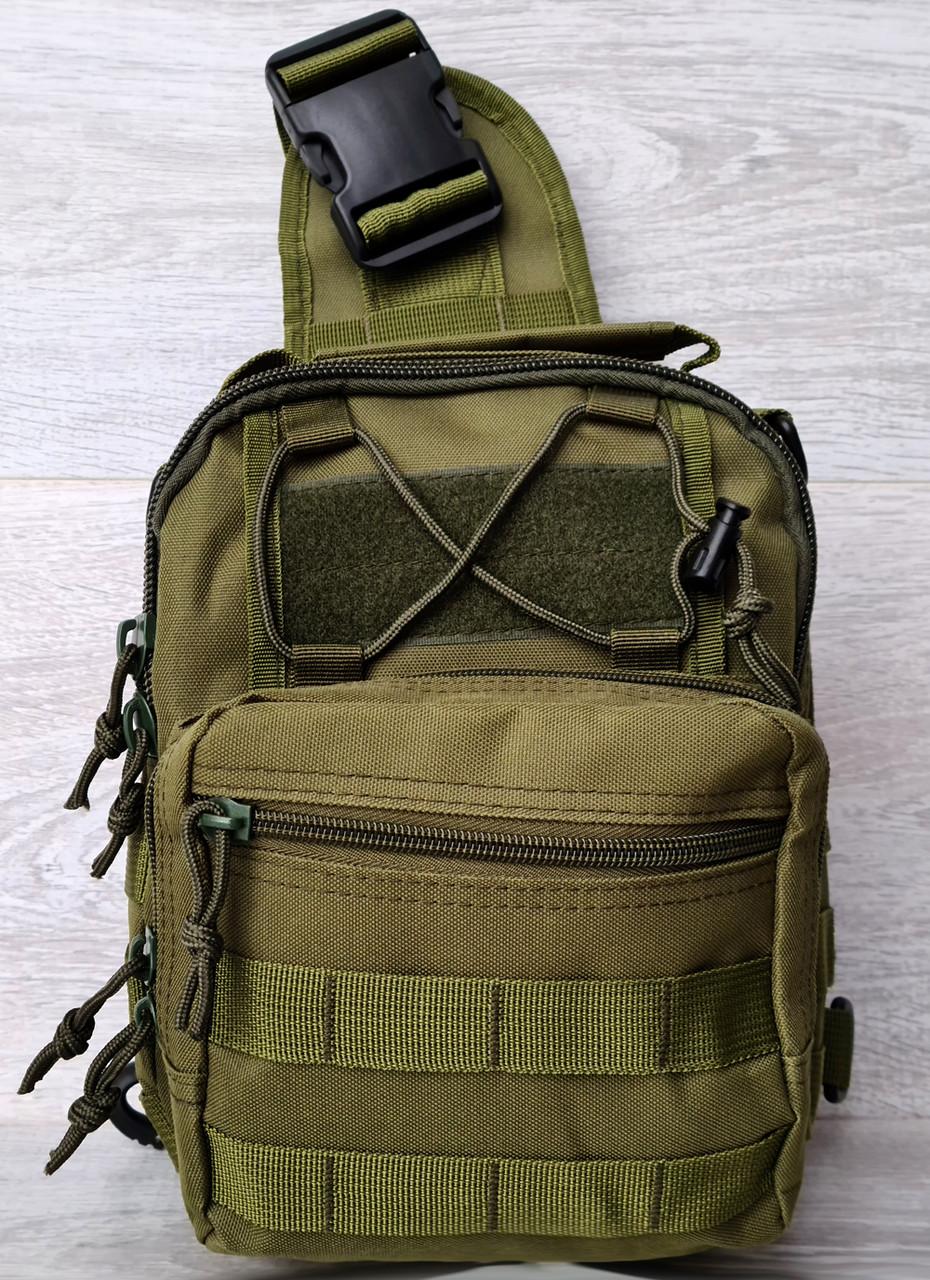 Однолямковий рюкзак - сумка зеленого кольору (50426)