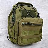 Однолямочный рюкзак - сумка зелёного цвета (50426), фото 2