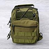 Однолямочный рюкзак - сумка зелёного цвета (50426), фото 3