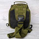 Однолямочный рюкзак - сумка зелёного цвета (50426), фото 7