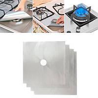 Многоразовые Серые защитные накладки (27х27см) для газовой плиты, антипригарный коврик, накладка на плиту (TI)