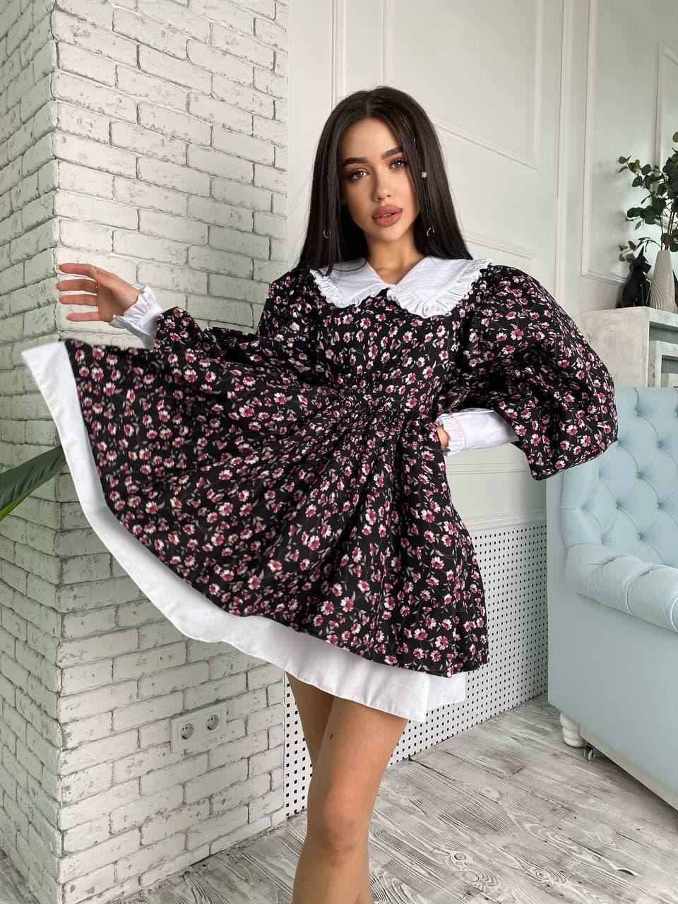 Жіноче Плаття Квіткове з Білим Коміром і Широким рукавом - M