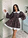 Жіноче Плаття Квіткове з Білим Коміром і Широким рукавом - M, фото 2