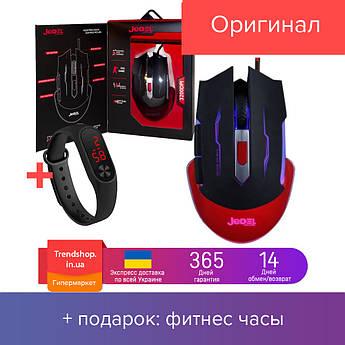 Мышь проводная игровая Jedel GM740 геймерская мышка с подсветкой 6 кнопок, черный с красным