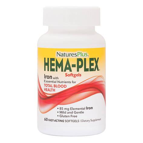 Комплекс с железом Hema-Plex, Iron, Nature's Plus, 60 Мягких Желатиновых Капсул, фото 2