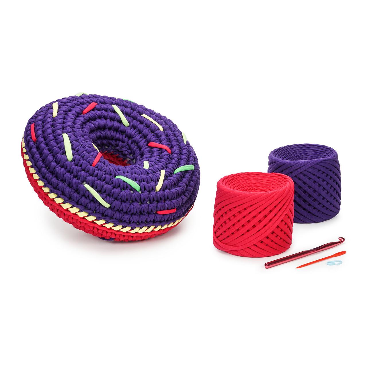 Набор для вязания крючком SWEET DONUT Цвет: Красный Мак + Синий электрик