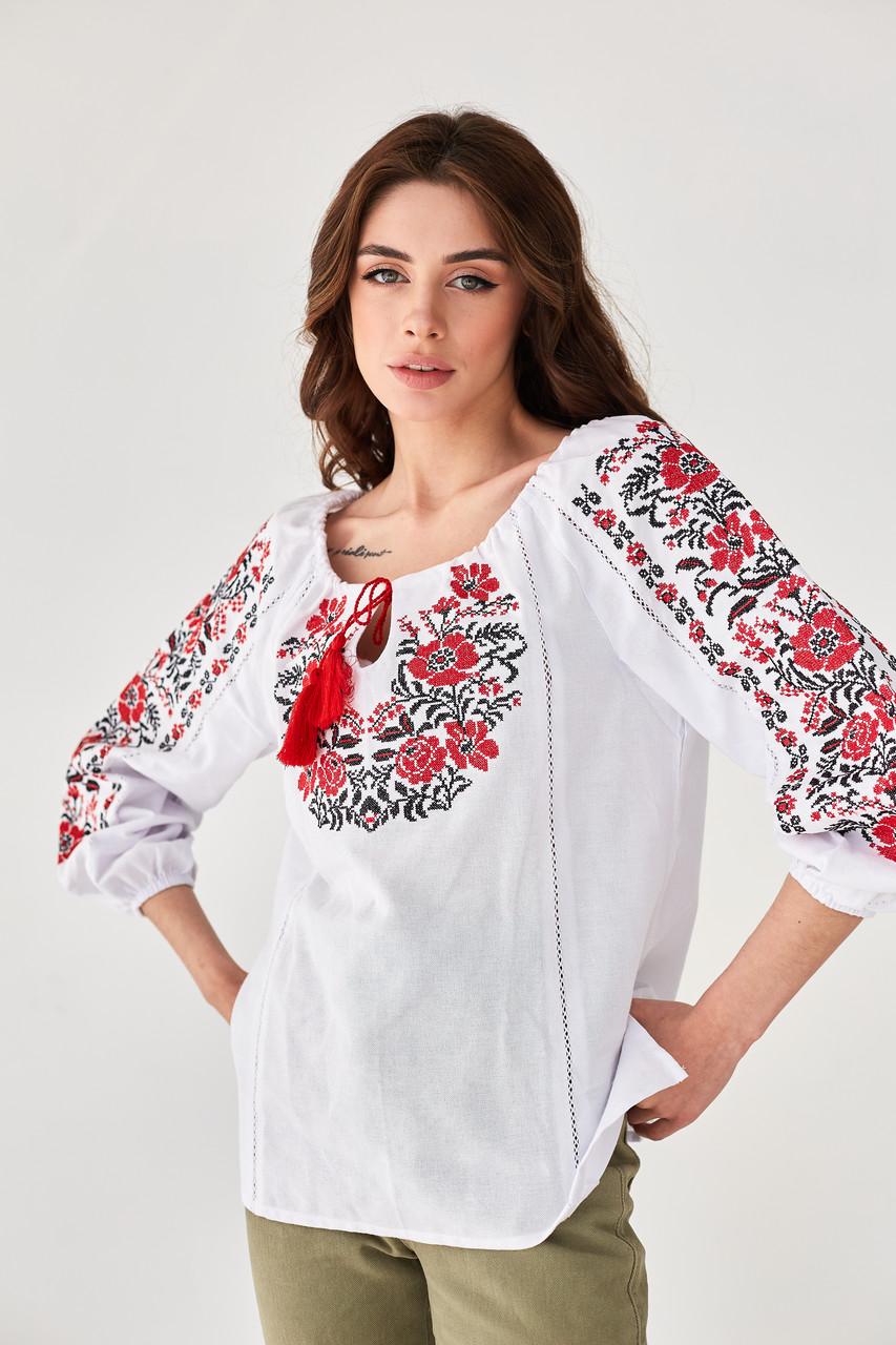 """Женская вышиванка крестиком """"Традиция"""" красная"""