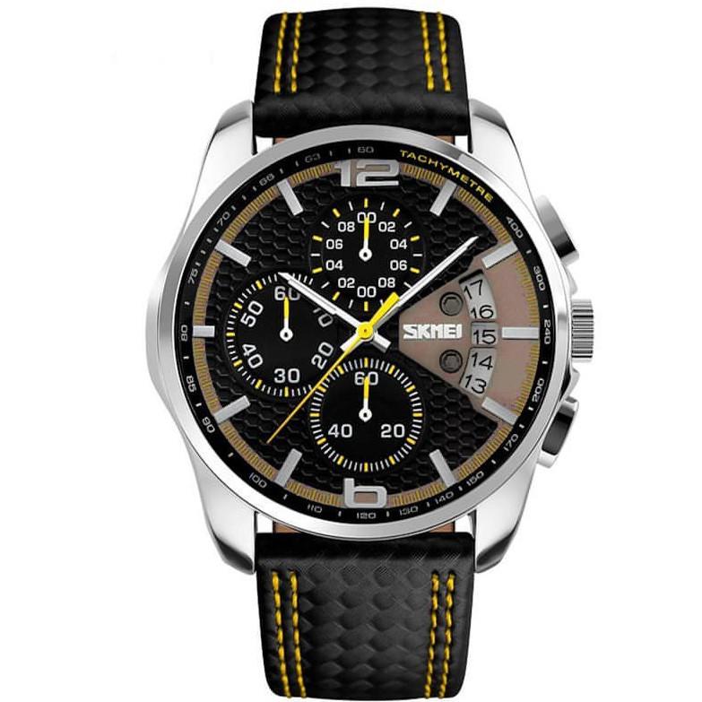 Skmei 9106 spider чорні з жовтим чоловічі класичні годинник