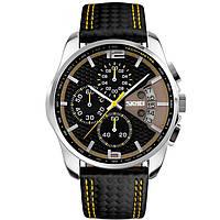 Skmei 9106 spider чорні з жовтим чоловічі класичні годинник, фото 1