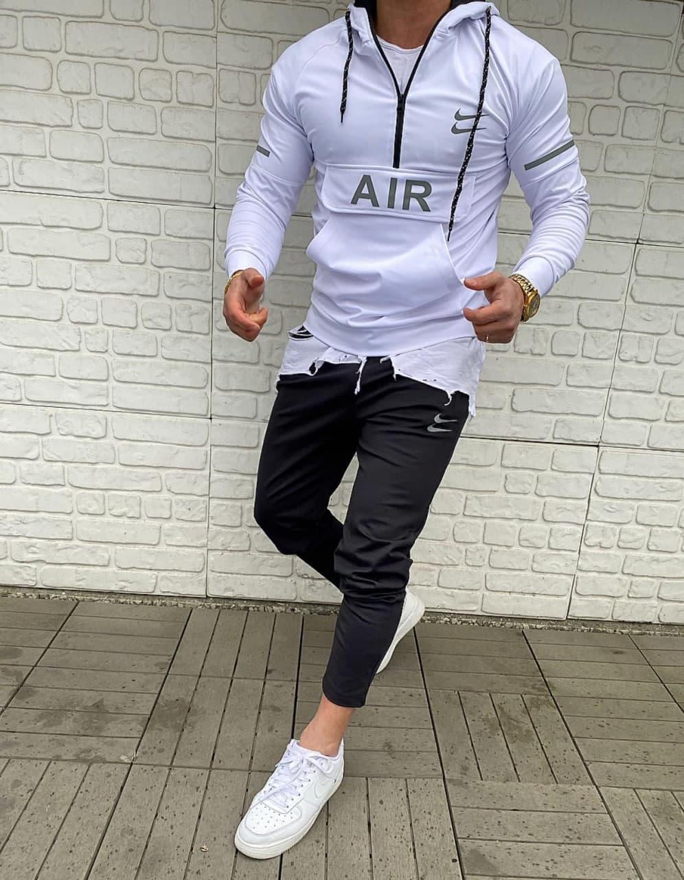 Спортивний костюм найк nike білий верх чорний низ нова колекція яскравий з капюшоном