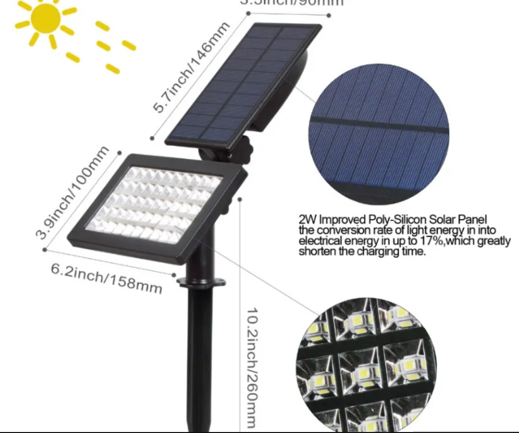 Садовий ліхтар на сонячній батареї 48 Led (Внуш. розміри)