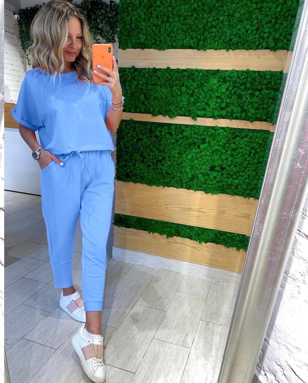 Практичний жіночий костюм на кожен день, 00792 (Блакитний), Розмір 46 (L)