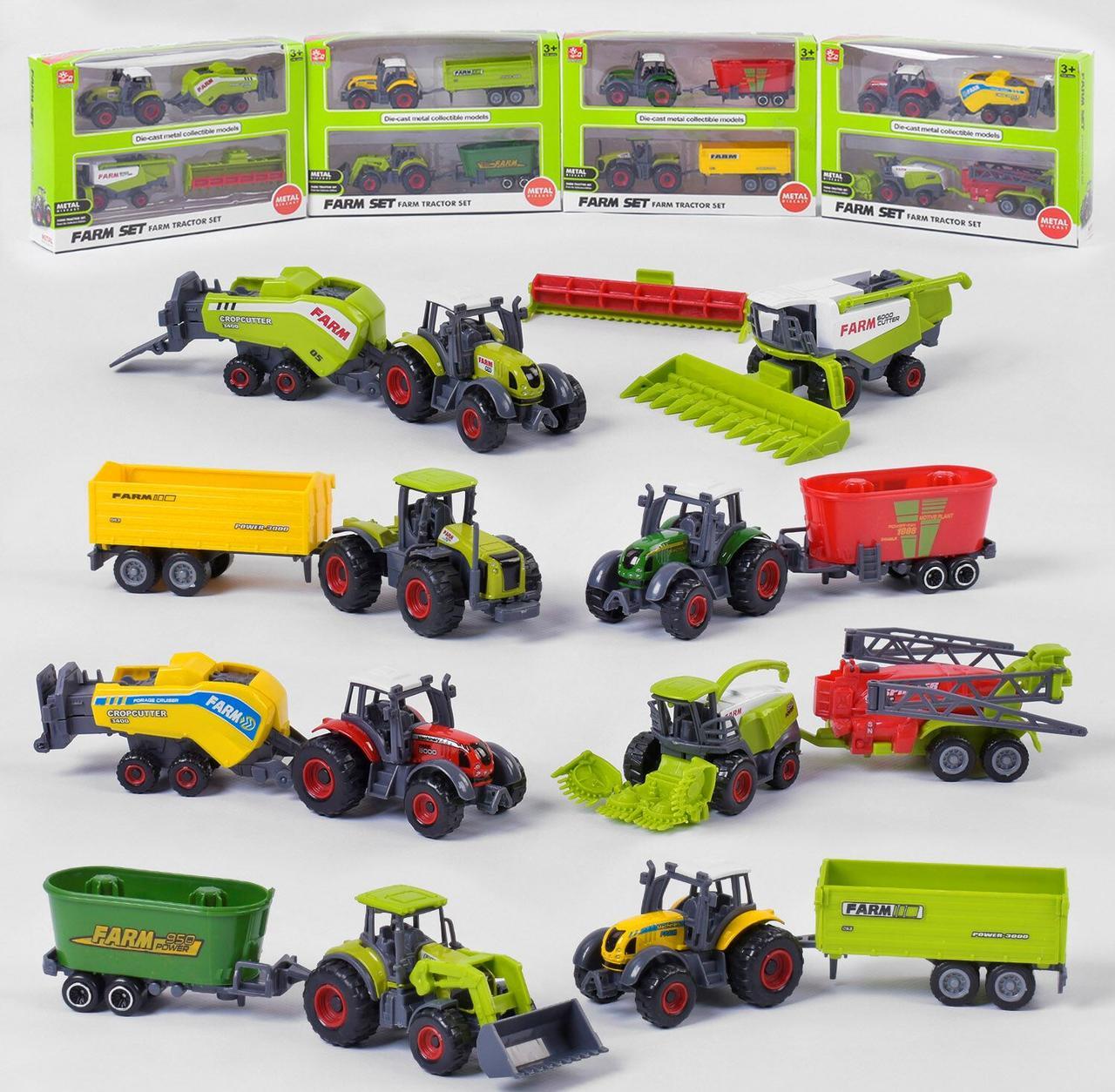 """Трактор металопластик """"Farm Set"""" 4 види, в коробці SQ 82004-2"""
