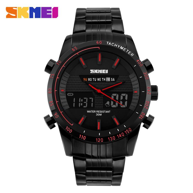 Skmei 1131 ARMY черные с красным кантом мужские наручные часы