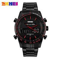 Skmei 1131 ARMY черные с красным кантом мужские наручные часы, фото 1
