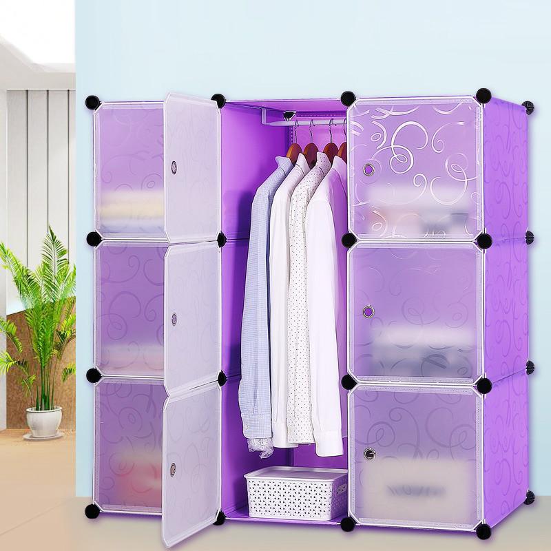 Пластиковый шкаф для одежды модульный гардероб DIY storge органайзер для хранения вещей  Фиолетовый