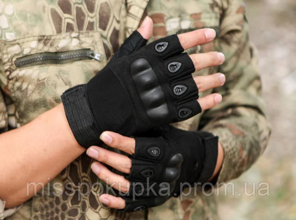 Перчатки тактические Oakley беспалые м, л, хл черные