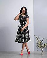 Женское нарядное платье миди с коротким рукавчиком, платье черного цвета в цветочный принт .