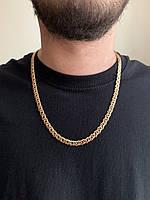 Мужская цепочка из медицинского золота 60см, цепочка широкая xuping с позолотой плетение двойной ромб
